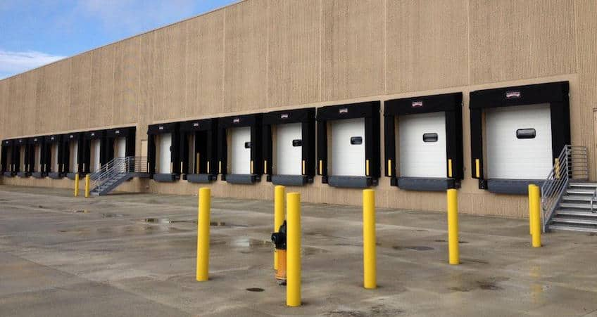 sectional steel garage doors for a loading dock