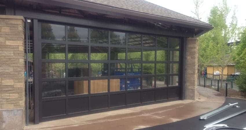 sectional aluminum door with glass at the Minnesota Zoo