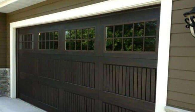 Garage door with narrow slates