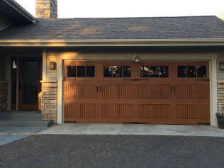 fiberglass garage door that looks like wood