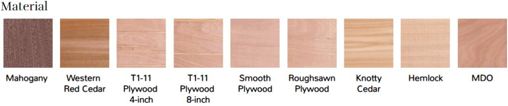 Garage door wood options
