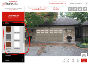 Garage door selection change syles